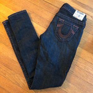 True Religion Mid Rise Dark Wash Skinny Jeans